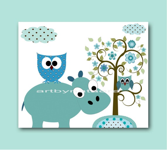 Baby Print Art for Children Kids Art Baby Boy Room Decor Baby Nursery Decor Baby Boy Nursery Decor Hippopotamus Owl Decor Tree Blue