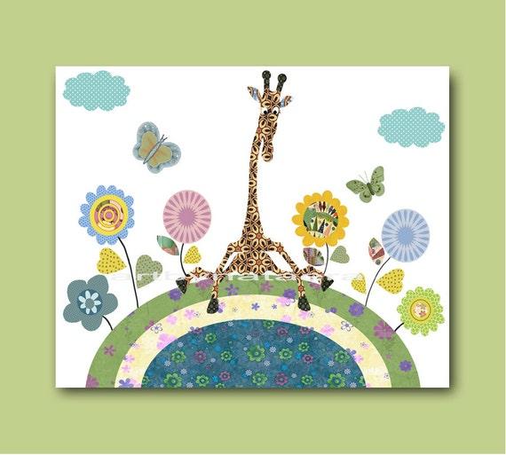 Giraffe Art for Children art Kids Wall Decor Baby Boy Nursery Art Baby Room Decor Baby Boy Decor Boy Print baby shower gifts blue green