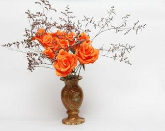 Paper flowers, paper flower bouquet, orange flowers, orange decor, orange decorations, orange roses, orange flower decor