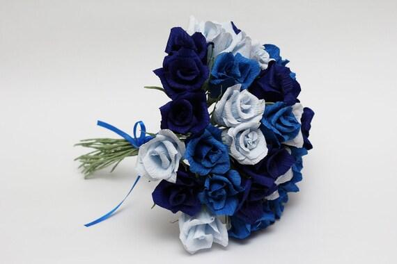 Dark Blue And White Flowers: Bridesmaid Bouquet Paper Flowers Wedding Flowers Wedding