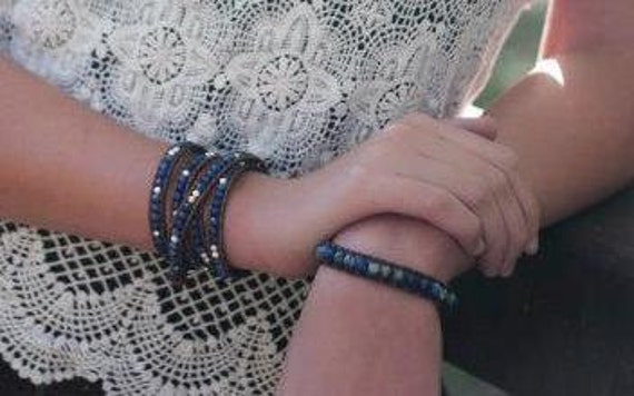 SALE sodalite beaded leather wrap bracelet with handmade sterling silver button in blue and white on brown leather in the Chan Luu style