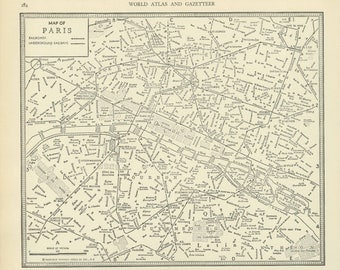 Vintage Street Map Paris France from 1937 Original