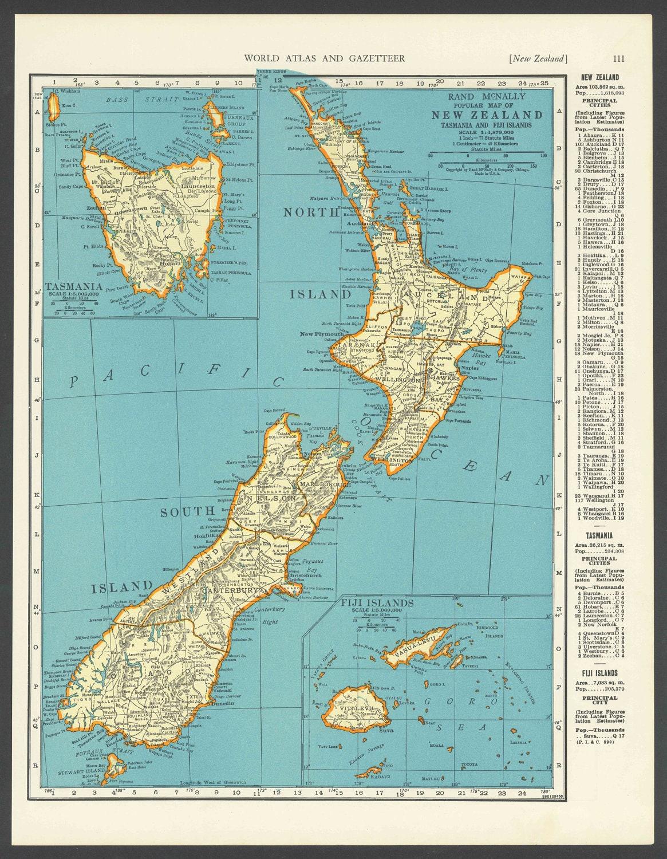 Vintage Karte Neuseeland Von 1937 Original