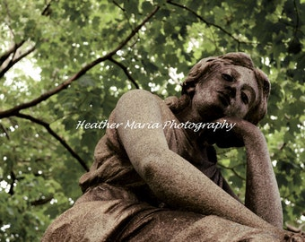 Time To Ponder Series, Fine Art Photography, Historic Cemetery Statue 8x10