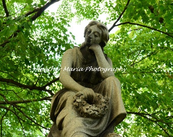 Waiting in the Garden,  Historic Cemetery Statue, Time To Ponder 8x10 Still Life Fine Art Photography,