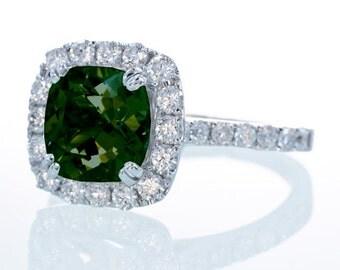 18K White Gold Green Tourmaline Halo Secret Heart Engagement Ring