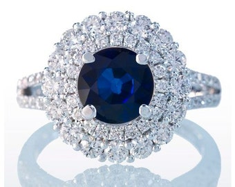Split Shank Double Diamond Halo Sapphire Engagement Wedding Anniversary Right Hand Cocktail Band Ring