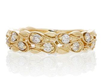 14 Karat Yellow Gold Diamond Stackable Anniversary Wedding Band Ring