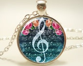 G-Clef Necklace, Music Note Jewelry (1058S1IN)