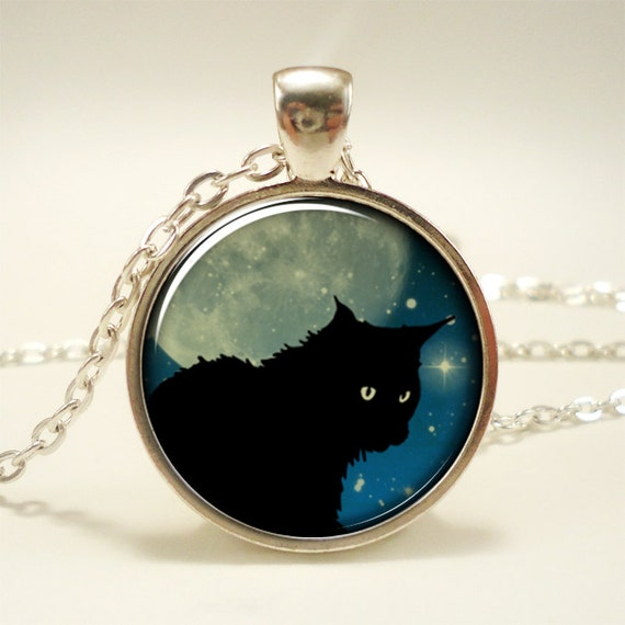 Black Cat Necklace With Full Moon, Midnight Blue (1294S1IN)