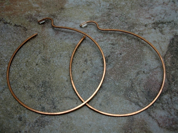 Rustic Copper Hoop Wire Earrings made with 18 guage copper
