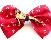 Shy sexy pin up hair bow, rockabilly, anchor, nautical, siren, vintage
