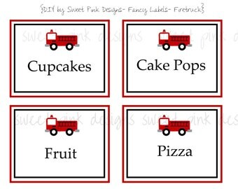 Printable Fancy Labels- Firetruck Collection
