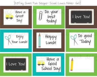 School Lunch Notes, Printable Lunch Notes, Boy Lunch Notes, School, School Printables, DIY