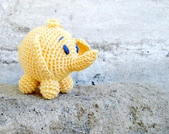 Elephant baby toy,Rattle elephant,Hanging baby toy,Car seat toy,Stroller toy,Crochet elephant,Yellow Safari,African animal,Waldorf,Nursery
