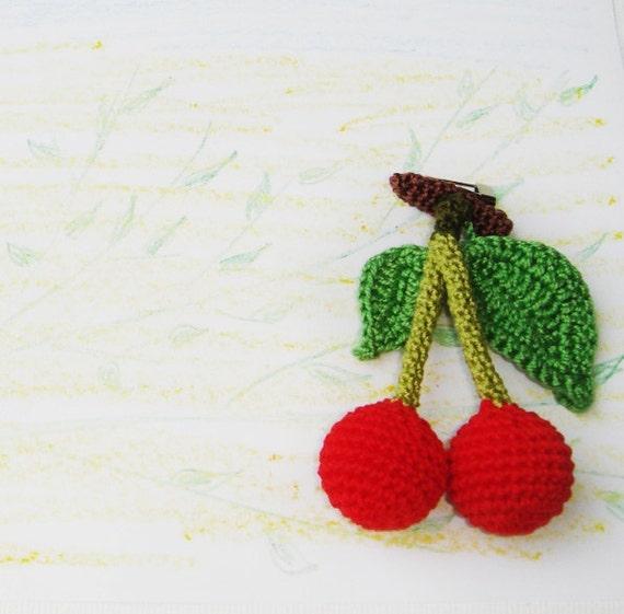 brooch berry crochet cherry brooch - red green sweet  - handmade berry - garden woodland forest - gift for her