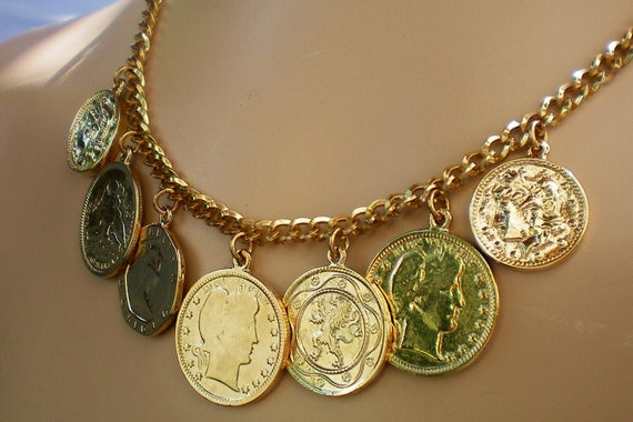 Thick coin finge style drop necklace. Recycled and ONE OF KIND.