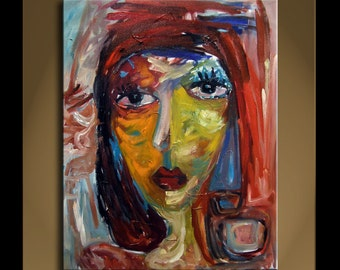 Large oil Painting Modern Original Art Imprissionist Abstract Portrait