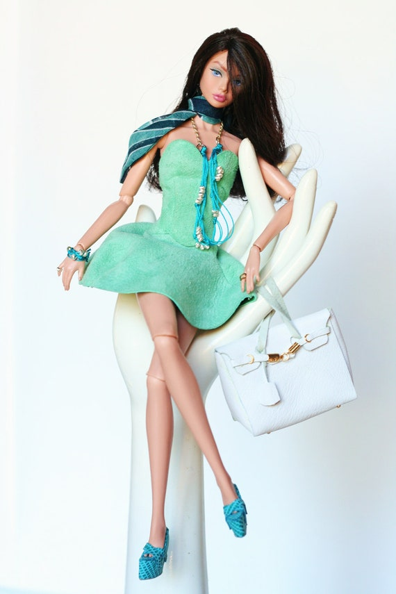 Fashion royalty, barbie outfit, turquoise leather dress, shoes Birkin bag