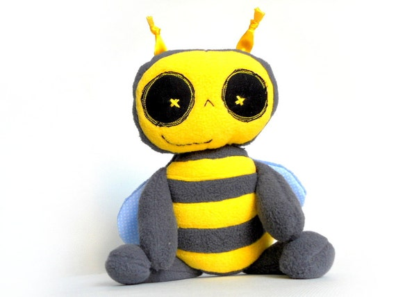 Stuffed animall Plush Bee  Soft Safe Baby Toy for Children Polar Fleece Cotton