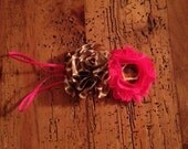 Giraffe print and hot pink ruffle and shabby flower bow with headband