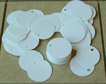 100 - Textured Circle Hang Tags - White - 1.25 inch
