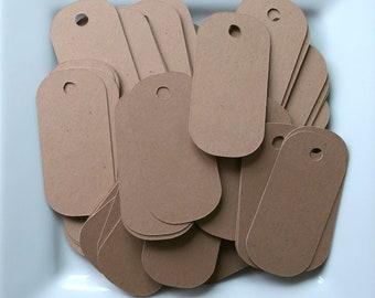 100 Kraft Dog Tags / Wedding Tag / Gift Tag / Merchandise Tag / Product Tag / Label - 1 inch x 2 inch