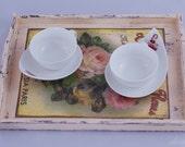 """Vintage Wooden Tea Tray - """"La Boutique de Fleurs"""""""