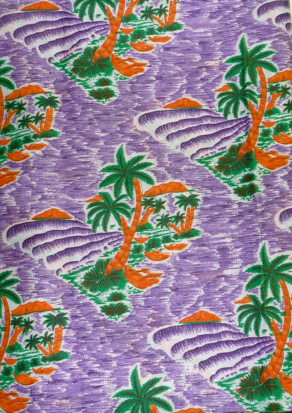 Lavender Green Orange Palm Trees Cotton Fabric