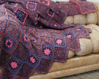 Lovely Crocheted Afghan Handmade Unique Pattern Includes Two Matching Pillow Covers