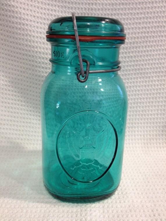 Vintage Ball Ideal turquoise mason jar w lid