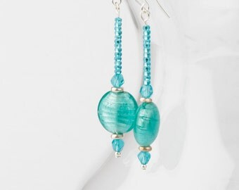 Aqua Lampwork Glass & Swarovski Crystal Dangle Earrings