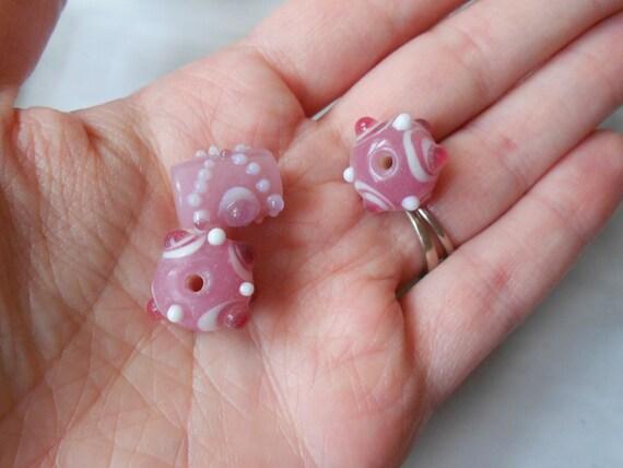 Angelic Pink Bumpy Lampwork Glass Beads, Set of 3, Destash