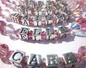 Personalized Bracelet, Child Bracelet, Swarovski Crystal, Name Bracelet, Birthstone Jewelry, Communion Jewelry
