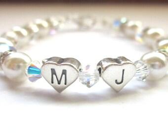Swarovski Pearl and Crystal Initial Bracelet, Confirmation Bracelet, Sterling Silver, Keepsake Bracelet