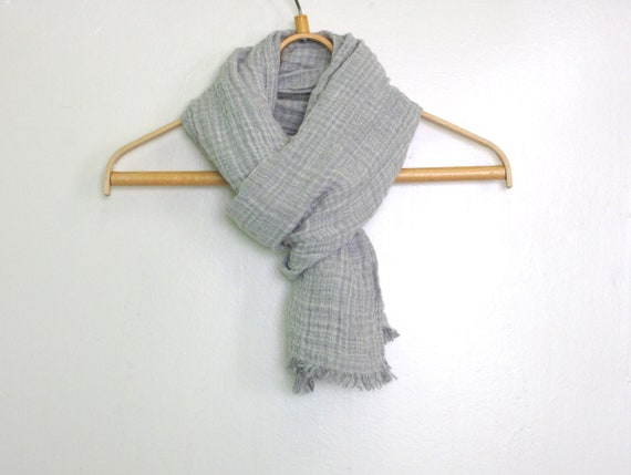 Reserved to Cecile. Natural linen scarf with fringe Autumn linen scarf Unisex Gift ideas Natural organic linen scarf