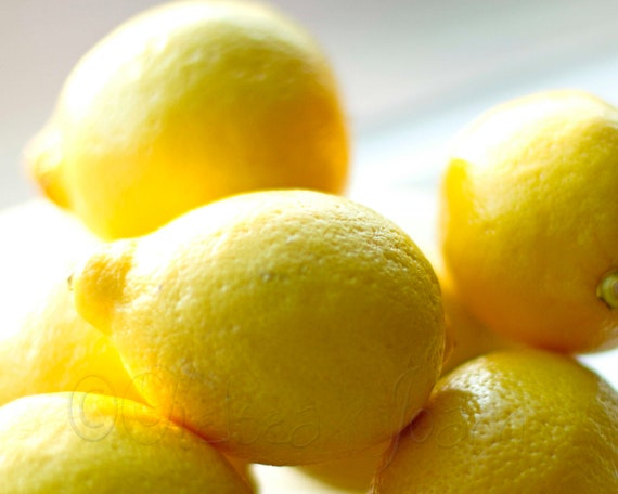 Yellow Lemons - Fine Art Photo Bright, macro, food, fruit, Home, happy, Kitchen Decor, Gift, Kitsch, 8x10
