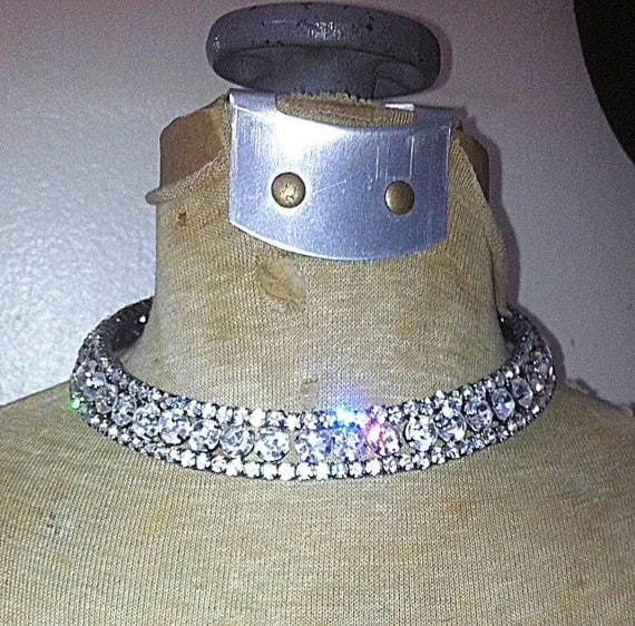 """Necklace Rhinestones small and medium size vintage from the early 90s Choker 14.5"""" Long 3/4"""" Wide"""