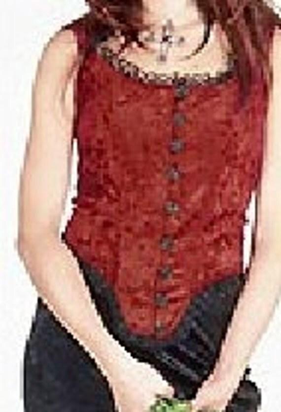 Vest Top Blouse Lace Gothic Renaissance Garnet Boned Vest Velvet Garnet Stretch Panne Velvet boning black acrylic rose buttons black lace