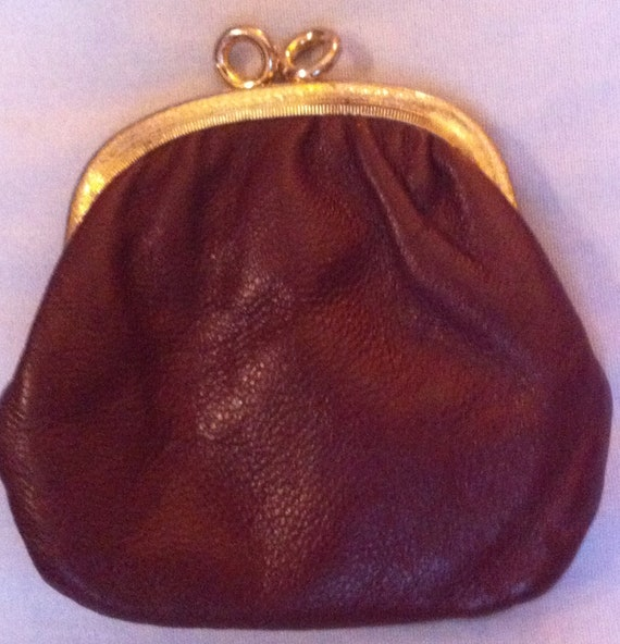Small Burgundy Gold Brass Leather Case Purse holds your change, pouch, bill holder, coin purse, bag, handbag, purse