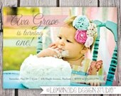 Photo Birthday Invitation - Printable Invite - Full Photo - Shabby Chic - Girly Birthday - Boy Colors too - ANY AGE or Birth Announcment