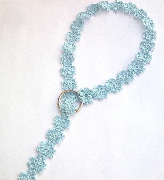 Reserved For D. Light Blue Crochet Motif Lace Oya Lariat Necklace Bridal Wedding Beaded Lariat Jewellery Beadwork, ReddApple