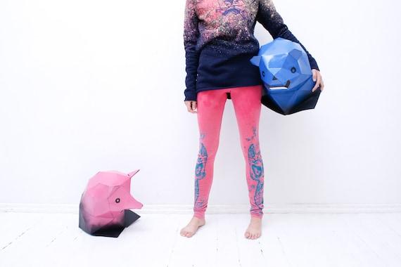 Pink warrior fox  leggings
