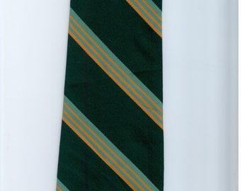Vintage Mens Green Stripe Polyester Necktie