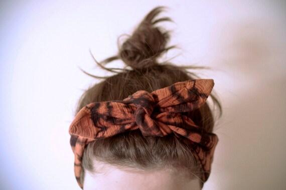 SALE indian cotton fabric, dyed black & rust headband, adjustable