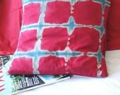 red and aqua SHIBORI hand dyed pillow SHIBORI