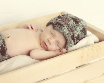 Camoflauge Camo Baby boy newsboy hat and diaper cover, newborn photo prop, fourth of July, army baby,