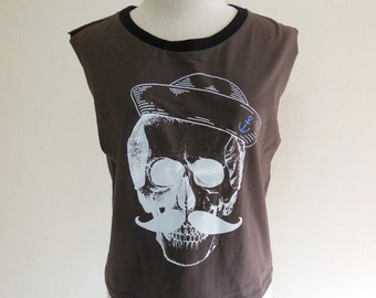 Skull Hat Skull mustache crop shirt cropped tee funny tees summy tees Skull Tank Top Women T-Shirt Brown T-Shirt Tunic Screen Print Size M