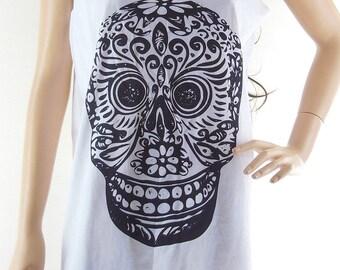 Mexican Skull Mask Art Design Skull Tank Top Workout shirt funny tank top Women T-Shirt Skull Shirt White T-Shirt Tunic Screen Print Size M