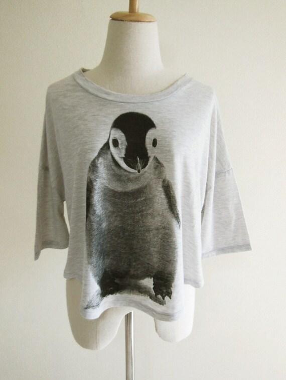 Penguin Animal Style Grey T-Shirt Crop Top Tee Shirt Screen Print Free Size